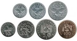 Nueva Caledonia 2001 - 2004 7 valores (1,2,5,10,20,50 y 100 Francos) S/C-