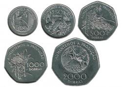 Santo Tomé y Príncipe 1997 5 valores (100,250,500,1.000 y 2.000 Dobras) S/C-
