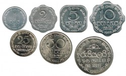 Sri Lanka 1978 -1988 7 valores (1,2,5,10,25 y 50 Cent. y 1 Rupia) S/C