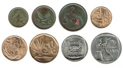 South Africa 1991-93 8 coins (1 cent- 2 Rands) XF