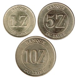 Zaire 1987 -1988 3 coins (1,5 and 10 Zaires) aUNC