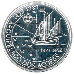 Portugal 100 Escudos de Plata 1989 Archipiélago de las Azores S/C