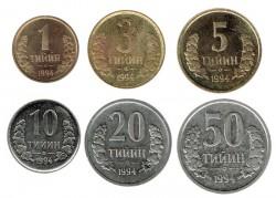 Uzbekistán 1994 Tira 6 valores (1,3,5,10,20 y 50 Tiyin) EBC