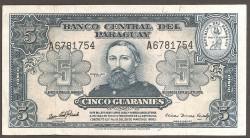 Paraguay 5 Guaraníes PK 186c (1.952) EBC