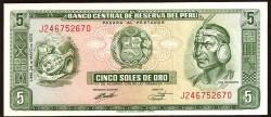 Perú 5 Soles de Oro PK 99c (15-8-1.974) S/C