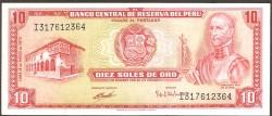Perú 10 Soles de Oro PK 100b (4-5-1.972) EBC+
