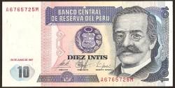 Perú 10 Intis PK 129 (26-6-1.987) S/C