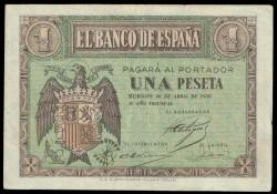 1 Peseta 1938 Burgos. Águila. MBC+