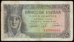 5 Ptas 1943 Isabel La Católica. MBC-