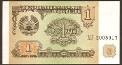 Tayikistán 1 Rublo PK 1 (1994) S/C
