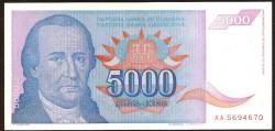 Yugoslavia 5.000 Dinares PK 141 (1.994) S/C