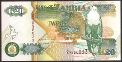 Zambia 20 Kwachas PK 36a (1.992) S/C