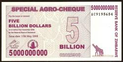 Zimbabwe 5 Billones de Dólares Agro-Cheque pk 61 (15-5-2.008) S/C