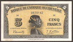Ocidental French Africa 5 Francs PK 28 (14-12-1.942) XF+