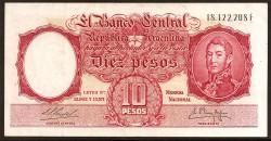 Argentina 10 Pesos PK 270a (1.954-63) MBC+