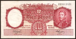 Argentina 10 Pesos PK 270b (1.954-63) MBC+