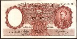 Argentina 100 Pesos PK 272c (1.961-62) MBC+