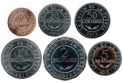 Bolivia 2010 - 2012 6 valores (10,20,50 cents. 1,2 y 5 Bolivianos) S/C