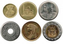 Egipto 1992-2005 6 valores (5,10,20,25,50 Piastras y 1 Libra) S/C