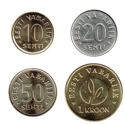Estonia 2006-2008 4 valores (10,20 y 50 Cent. 1 Krooni) S/C