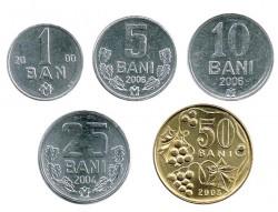 Moldavia 2000 - 2006 5 valores (1,5,10,25 y 50 Banis) S/C