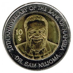 Namibia 2010 10 Dólares Bimetálica (20 Aniv. del Banco de Namibia) S/C