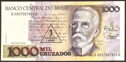 Brasil 1 Cruzado Novo en 1.000 Cruzados PK 216b (1.989) S/C