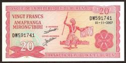 Burundi 20 Francos PK 27d (1-11-2.007) S/C