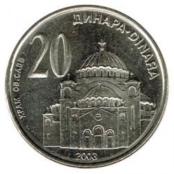 Serbia 2003 20 Dinares (Catedral de San Sava ) S/C