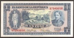 Colombia 1 Peso de Oro PK 398 (7-8-1.953) S/C