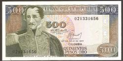 Colombia 500 Pesos oro PK 420a (20-7-1.977) S/C