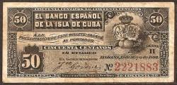 Cuba 50 Centavos PK 46a (15-5-1.896) MBC-