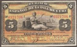 Cuba 5 Pesos PK 48b (15-5-1.896) MBC+