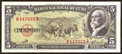 Cuba 5 Pesos PK 91c (1.960) S/C-
