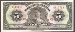 Méjico 5 Pesos PK 60h (24-04-1.963) S/C