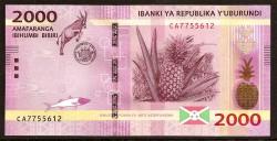 Burundi 2.000 Francos PK 52 (15-1-2.015) S/C