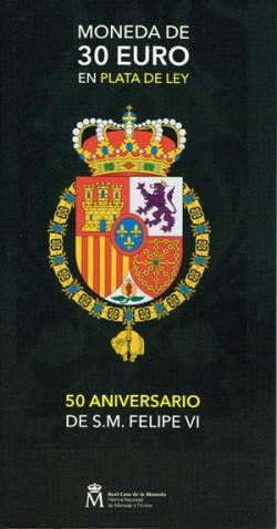 España 2018 Cartera Oficial 30 Euros 50 Aniv. de S.M. Felipe VI S/C