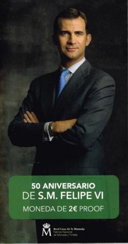 España 2018 2 Euros 50 Aniv. de S.M. Felipe VI PROOF