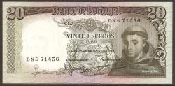 Portugal 20 Escudos Pk 167 (3) (26-5-1.964) S/C