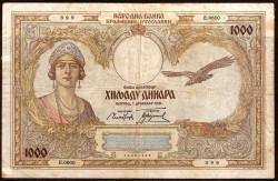 Yugoslavia 1.000 Dinares PK 29 (1-12-1.931) MBC