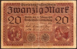 Germany 20 Mark Pick 57 (20-2-1.918) aVF