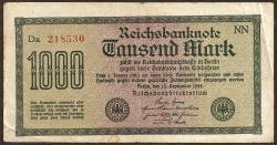 Germany 1,000 Marks Pick 76g (15-9-1.922) aVF