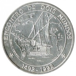 Portugal 1000 Escudos Silver 1992 Meeting between two Worlds KM 657 UNC