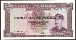 Mozambique 500 Escudos PK 118 (22-3-1.967) S/C