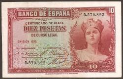 10 Pesetas 1935 República MBC+ Sin Serie