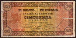 50 Ptas 1938 Castillo de Olite BC-