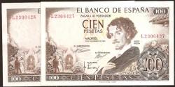100 Pesetas 1965 Pareja correlativa. Gustavo Adolfo Bécquer S/C