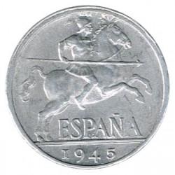 10 Céntimos 1945 Desplazada y mayor grosor S/C
