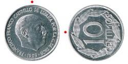 10 Céntimos 1959 Reverso Girado 90º PROOF