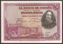 50 Ptas 1928 Velázquez EBC